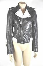 Balenciaga Black And White  Leather Biker Jacket  Size 40