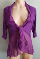 BNWT Womens Sz 20 Eversun Purple Crinkle Tie Front Short Sleeve Cardi Style Top
