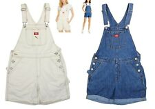 Dickies Juniors Solid Color Denim Rolled Cuff Short Overalls NWT