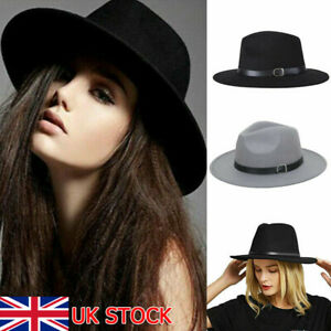 Ladies Gentlemen Wool Felt Trilby Fedora Jazz Wide Brim Hat Large Cap Gangster