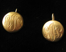Vintage 1980's gold monogrammed earrings with wire clasp backs