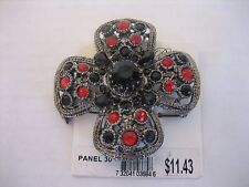 Women's Fashion Jewelry Pin Brooch Black/Red Cross Metal & Rhinestones New