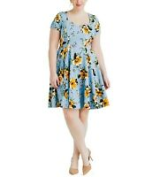 Eva Rose Blue And Gold Floral Fit And Flare Dress Size Medium