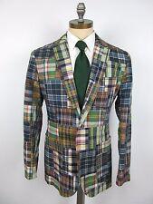 POLO RALPH LAUREN Cotton Madras Patchwork Plaid Jacket Sport Coat 44R 3 Roll 2