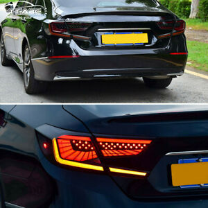 Smoked Led Tail Lights For Honda Accord 2018-2020 Start Up Animation Rear Lamp