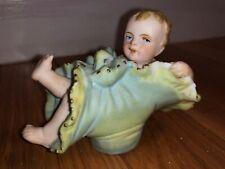 Antique Bisque Porcelain Figurine Germany Baby Boy Inside Flower 3� x 2 1/2�