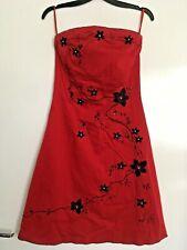 Jane Norman Cóctel Vestido talla 10 Sin Tirantes Rojo Negro Diamante Fiesta Noche