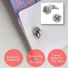 Exquisite Handcraft Round Two Silver Toned Ball Twisted Sphere Knot Cufflinks
