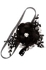 SCHNÄPPCHEN Haarschmuck Haarband Blume Spitzen Tüll Schwarz Perlen Ivory weiß