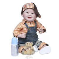 "22"" Handmade Happy Smiling Face Silicone Doll Soft Real Touch Reborn Baby Doll"