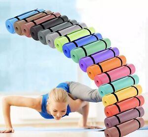 YOGA MAT FOR PILATES GYM EXERCISE CARRY STRAP 15MM THICK LARGE COMFORTABLE NBR