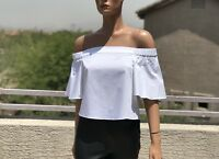 Tibi White Cotton Off Shoulder Crop Top Size 0