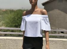 Tibi White Cotton Off Shoulder Crop Top Size 0