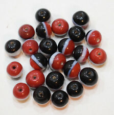 Beads India Red White Black Round Beads Vintage 11mm