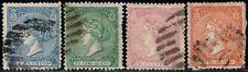 1866.Ed:º80/82,84.Isabel II.4 Valores serie.Matasellos Parrilla con Cifra