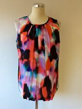 FRENCH CONNECTION MULTI COLOURED PRINT SLEEVELESS TOP SIZE 14