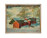 Vintage American Regionalism WPA Era Rural Landscape Oil Painting New England