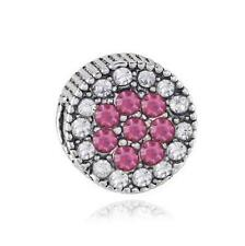 1pcs White/pink Crystal Silver Charm Bead Fit European Charm Bracelet