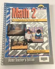 Bob Jones University BJUP Math 2 TE 2nd Second Ed. Home Teacher's Edition VGC!