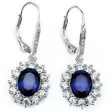 Sterling Silver Snowflake SAPPHIRE&CZ Gemstone Oval Leverback Dangle Earrings