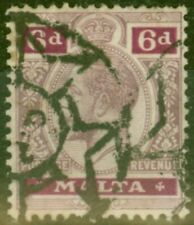 Malta 1918 6d Dull Purple & Magenta SG80a Good Used