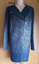 New Karen Millen dark blue & beige tailored biker denim jacket coat UK 12 CS014