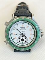 VTG Rare SEIKO Chronograph 8M32-8019 Soccer Timer Quartz Men's Watch