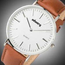 Pacifistor Mens Lady Quartz Wrist Watch Ultra Thin Slim Business Brown Leather