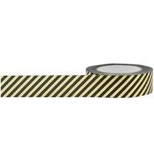 Little B: Black and Gold Diagonal Stripe Washi Tape, 10m - Halloween/Year Round