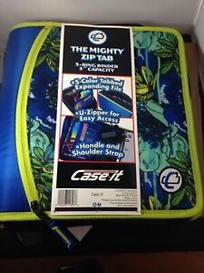 "The Mighty Zip Tab 3 Ring Binder 3"" Capacity by Case It Tropical Blue"