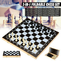 3-in-1 Folding Wood Chess Set Board Game Checkers Draughts Backgammon Toy Gift