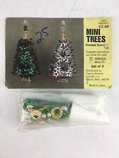 Mini Christmas Tree Ornament Kit Green Star Sequins Vintage DIY NEW