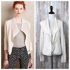 Anthropologie XS Moth Ivory Textured Jersey Knit Zip Up Birte Moto Jacket
