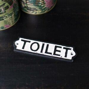 Black & White Metal Toilet Plaque sign wall decor home bathroom vintage gift