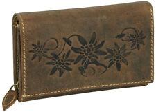 Damen Geldbörse Leder groß braun günstig Portemonnaie Geldbeutel antik design