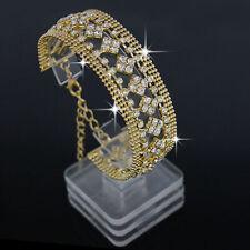 Elegant Women Crystal Rhinestone Wedding Bangle Bracelet Bridal Jewelry Chain