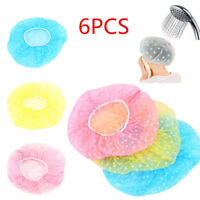 6PCS Waterproof Elastic Plastic Dot Shower Women Bathing Salon Hair Cap Hat ~