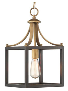 Boswell Quarter Collection Vintage Brass Mini-Pendant With Painted Black Accents