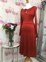 NEW £49 Romantic M&Co Red Silky Fit Flare Sleeved Midi Dress 10 Christmas