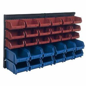 Stalwart 30 Bin Wall Mounted Parts Rack Nut Bolts Crafts Garage Storage Bins