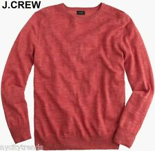 New J.CREW cotton linen sweater light spring fall red heather crewneck nr neck M