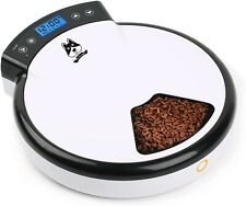 5 Meal Automatic Pet Feeder Dog Cat 5 Day Programming Revolving Tray