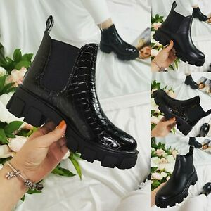 Womens Ankle Boots Ladies Punk Flatform Pull On Chunky Heel Cleated Sole Shoes