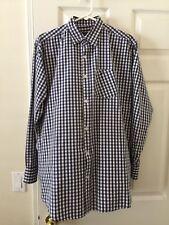 Nautica Men's Shirt XXL Blue White Check 2-ply Cotton Long Sleeve 2XL L01