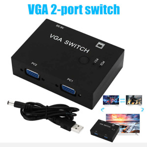 2-Port VGA Monitor Sharing Switch Box Video Selector 2 In 1 Out - UK Seller