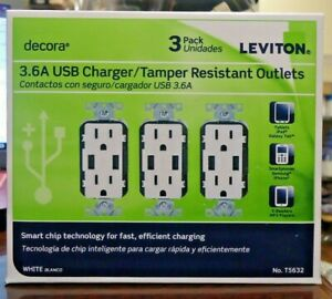 NEW!! Leviton Decora 3PK 3.6A USB Charger/Tamper Resistant Outlets -T5632 (2030)