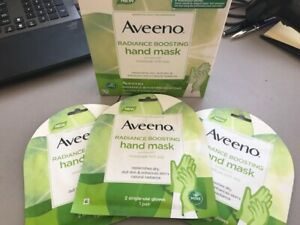 3 Pouches Aveeno Radiance Boosting Hand Mask Dry Skin Single Use  Moisture Soy