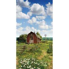 """23"""" Fabric Panel - Hoffman Digital American Byways - Farm Cow Flower Scene"""