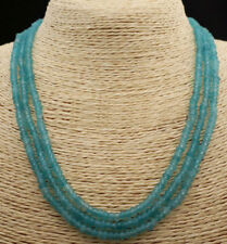 """Light Blue Aquamarine Beads Necklace18-20"""" Faceted 3 Rows 2x4mm Genuine Natural"""