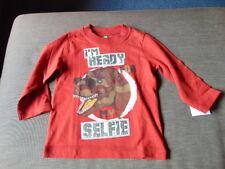 Benetton 100%Cotton L/Sleeved Dinosaur 'Selfie' Top 12m 80cm Dk Red Mix BNWT